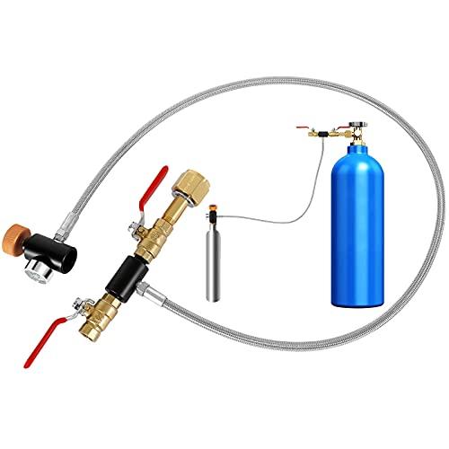 GUSUWU Adaptador de CO2 para manguera de 36 pulgadas, conector de llenado de CO2 para depósitos de soda (válvula doble/W21.8-14)