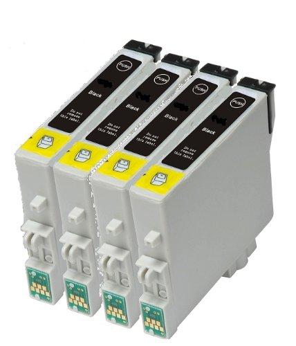 Set de 4 x T0611 Negro Compatible con impresoras para EPSON Stylus D68, D88, D88+, DX3800, DX3800+, DX3850, DX3850+, DX4200, DX4250, DX4800, DX4800+, DX4850, DX4850+