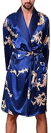 WanYangg Albornoz Kimonos Pijama para Hombre Largo Camis/ón Robe Bata Ropa De Dormir Sat/ín Bata De Ba/ño Drag/ón De Impresi/ón Seda De Imitaci/ón