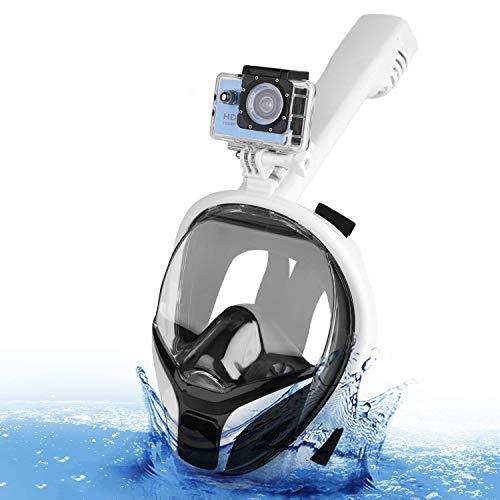 Speedsporting Máscara de esnórquel de cara completa 180°, máscara de buceo para adultos o niños, antivaho y antifugas, con soporte de cámara de acción desmontable, color Turquesa+blanco, tamaño S/M