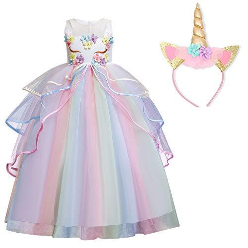 TTYAOVO Ragazze Unicorno Elegante Vestito da Principessa Bambini Fiore Concorso Festa Vestito Senza Maniche Balze Vestiti Taglia(150) 9-10 Anni 719 Bianco
