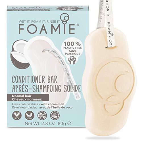 Acondicionador sólido con aceite de coco para el cabello Foamie con aceite de coco para hidratar el pelo seco y dañado 100% vegano y sin plástico 80 g