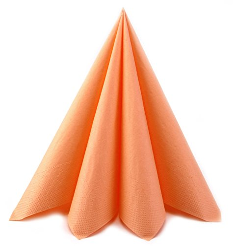 Deko Angels 100 Stück Papierservietten APRICOT (0,18€/Stück) 40 x 40 cm Servietten Tissue 3-lagig Tischdeko Hochzeit Lachs Mundservietten zum Falten von FINEMARK