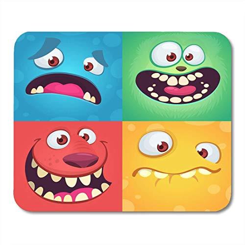 Mauspad,Cartoon Mon-Ster Gesichter Von Vier Halloween Mit Verschiedenen Ausdrücken Kinderbuch Illustrationen Party Soft Durable Computer Gaming Pad,25x30CM