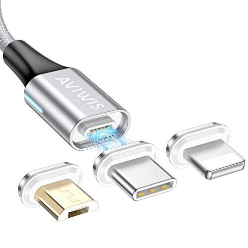 Magnetisches Multi USB Kabel, AVIWIS 3 in 1Magnetic Schnellladekabel und Sync Datenkabel mit iP Micro USB Typ C Magnet Adapter für Android Galaxy S9 S8 S7 S6 S5 A3 A5, Huawei, Honor, Oneplus