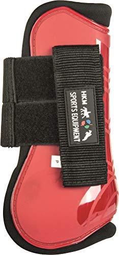 HKM 8566 Springgamaschen und Streichkappen, gefüttert, Rot/Schwarz, Vollblut