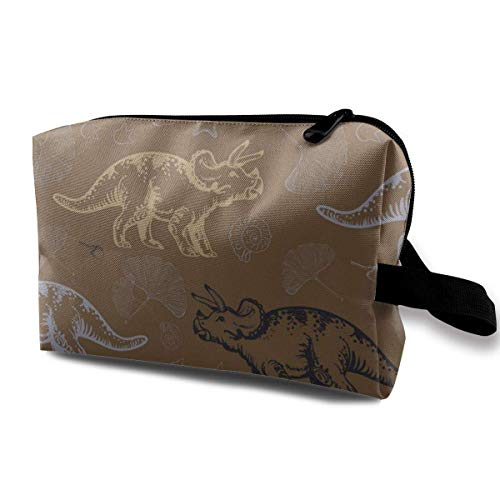 Jurassic Triceratops Portable Travel Cosmetic Bags Makeup Organizer Bags Grande Capacity Toiletry Organizer Cases Travel Pouch Purse