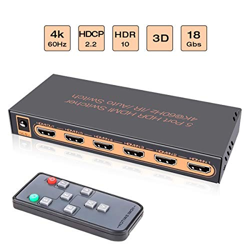 Awakelion 4K@60Hz HDMI Switch 5x1 Umschalter 5 in 1 Out HDMI Umschalter mit IR Fernbedienung, HDCP 2.2, UHD, HDR, Full HD / 3D