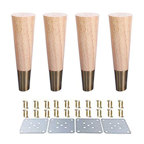 ZTMN Set van 4 koperen mouw massief hout bank voeten, houten kast voeten, meubelpoten, voor bank fauteuil Recliner dressoir Vanity TV kabinet ondersteuning been (9,8 inch/25 cm)