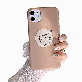 Eiles Compatible with iPhone 11 6.1'' Case Cute Bear Korean Couple Cartoon Pattern for Women Girls Fashion Slim Soft Flexible TPU Rubber Protective Cover -Brown