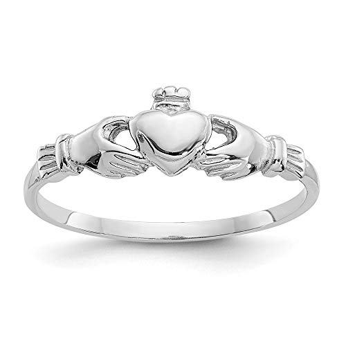 14k White Gold Childs Irish Claddagh Celtic Knot Band Ring Size 4.00 Baby Fine Jewelry For Women Gifts For Her
