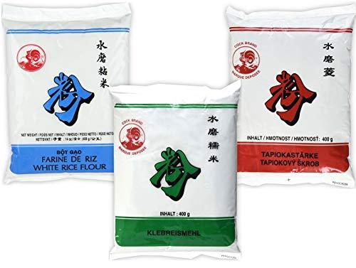 Oferta de degustación Harina glutinosa 400g + Harina de arroz 400g + Harina de tapioca 400g