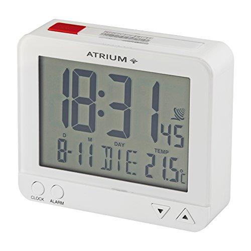 ATRIUM Funk-Wecker digital weiß, sensorgesteuertes Nachtlicht, Obenabsteller, Datum und Temperaturanzeige A760-0