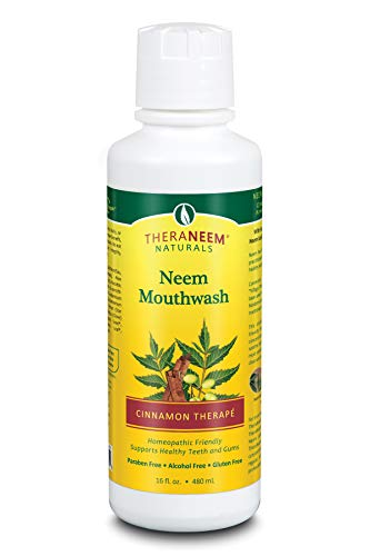 TheraNeem Neem Mouthwash, Cinnamon Therap   Freshens Breath, Supports Healthy Teeth and Gums, Vegan, Great Taste   16oz