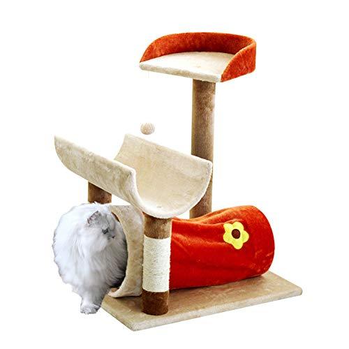 ZWW Krabpaal, kleine moderne kat klimtoren spelen activiteit centrum Grab post met tunnel & springplatform & speelgoedbal