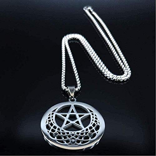 BACKZY MXJP Necklace Necklace Necklace Sun Moon Pentagram Stainless Steel Silver Color Necklaces Women Witchcraft Statement Necklace Jewelry-50Cm Pendant Necklace for Women Men