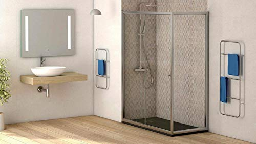 Mampara de ducha lateral fijo con cristal transparente templado de seguridad de 4mm modelo Bricodomo Catalonia ANCHO 80CM (medida adaptable 78 a 80cm)