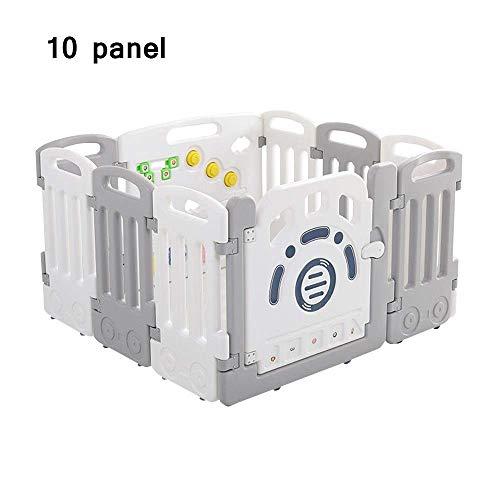 LY88 Zaun Baby Laufstall, 12 Zaunelemente, Sicherheits-Spielplatz, tragbar, für Kinder im Innen- und Außenbereich, Kunststoff, Spielzaun-Ball – Grau/Pink, grau, 10 Panel