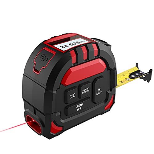 Laser Entfernungsmesser 2 in 1, 40M Laser Entfernungsmesser & 5M Massband,mit Type-C Aufladung und LCD-Digitalanzeige,50 Datensätze ,Abstand/Fläche/Volumen Messungen