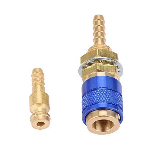 Conector de manguera de montaje rápido de alta eficiencia Máquina de soldadura Juego de conectores rápidos de enchufe rápido de agua Adaptador refrigerado por agua para antorcha de soldador(blue)