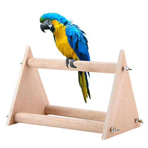 Scopri offerta per Stand per posatoio per Uccelli Pappagallo, Portable Funny Parrot in Legno Playstand Bird Playground Play Palestra per Cockatiels Conures African Grays Parakeets Finch Love Birds