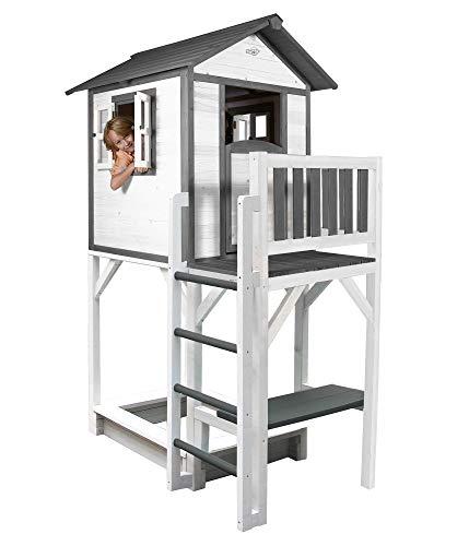 Beauty.Scouts Holzspielhaus Sun XXL Leiter+Sandkasten 168x114x249cm aus Holz in grau-weiß Kinder Kinderspielhaus Holzhaus Stelzenhaus Liebe zum Detail