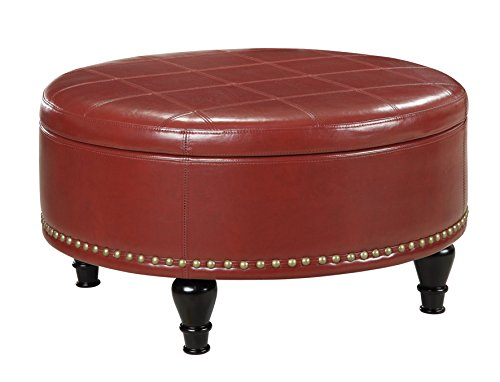 OSP Home Furnishings Augusta Eco Leather Round Storage Ottoman with Brass Color Nail Head Trim and Deep Espresso Legs, Crimson Red