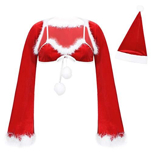 inlzdz Navidad Lencera Ertica Sujetador con Chaqueta de Mujer Ropa Interior de Navidad Bolero Crdigan Moda Sexy Ropa Interior Rojo XL