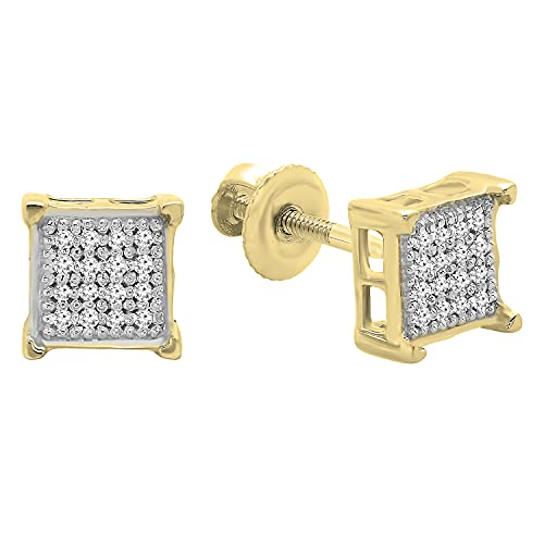 Dazzlingrock Collection 0.10 Carat (ctw) Round Diamond Square Shape Mens Stud Earrings, 18K Yellow Gold Plated Sterling Silver