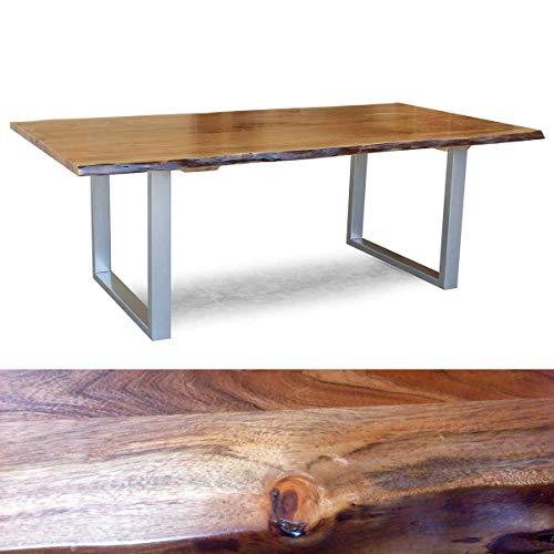 Möbel Akut Tisch Kerala Esszimmertisch 220x100 cm Esstisch Holz Massivholz Akazie Baumkante Gestell alufarbig