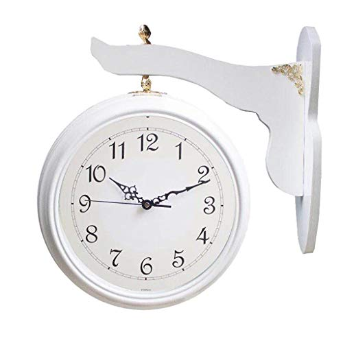 Reloj de Pared Moderno Reloj de pared de doble cara decorativo vintage Estilo antiguo Reloj de pared de pie Marco de madera y reloj de vidrio Sala de estar Reloj grande silencioso a tiempo Reloj de Pa