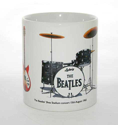 George Morgan Illustration Gang-Becher. Die Beatles-Gitarren und Schlagzeug aus dem 1965 Shea Stadium Konzert