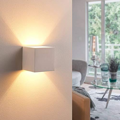 Lindby LED Wandleuchte, Wandlampe Innen 'Kay' (Modern) in Weiß aus Gips/Ton u.a. für Wohnzimmer & Esszimmer (1 flammig, G9, A+, inkl. Leuchtmittel) - Wandstrahler, Wandbeleuchtung Schlafzimmer /