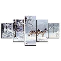 雪に覆われた森のオオカミ5パネル壁アート絵画装飾ギフト額入りアートワーク写真写真プリントキャンバス