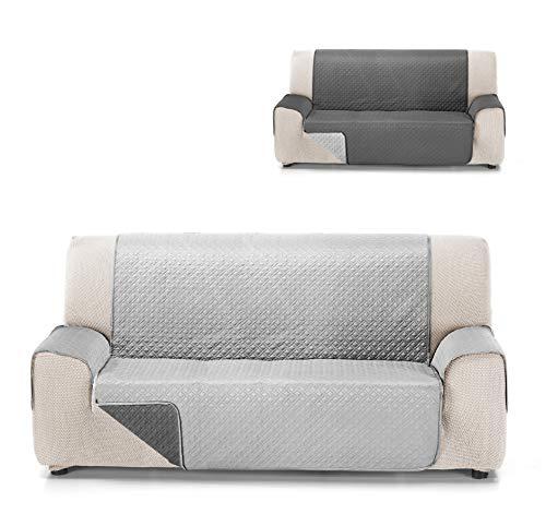 Cardenal Textil RUBÍ Cubre Sofa Bicolor Reversible, Perla/Gris, 2 Plazas