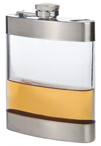 Franmara Clear Stainless Steel Pocket Flask, 6 Oz.