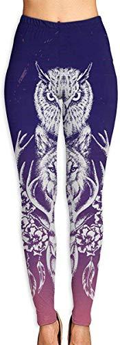 Pantalones de yoga deportivos, calzas de entrenamiento con diseño de búho, lobo, ciervo, atrapasueños, proporcionan a las mujeres con cintura alta, ultra suave y ligero para gimnasio y yoga Blanco blanco M
