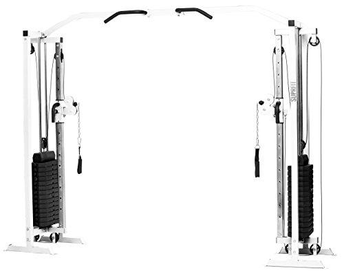 Suprfit Hallador - Stazione sportiva con tiranti, incluse pile di pesi con 81 kg di carico di trazione, Cable Cross Tower con asta per trazioni Multigrip, materiale: tubo angolare in acciaio, colore: grigio o nero