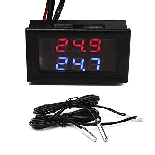 Digital Thermometer,Dual Display LED Temperaturmesser,DC 4-28V 2 Wasserdicht NTC Temperatursensor Sonde,für Raum, Automobil, Klimaanlage, Kühlschrank