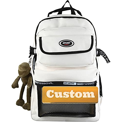 Canvas Zaino Personalizzato Nome Lightweight Esterni Travel Mini Daypack Zaino Boy Borsa Borsa Scuola Retro Slim Teen Bookbag Borsa per computer taccuino (Color : Off White, Size : One size)