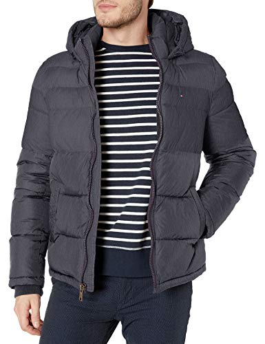 Tommy Hilfiger Men's Classic Hooded Puffer Jacket (Standard and Big & Tall), heather navy, Small