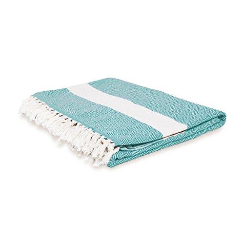 Lumaland Baumwolldecke Tagesdecke kräftige Farben aus 100prozent Baumwolle in Premiumqualität ca. 200 x 240 cm Grün