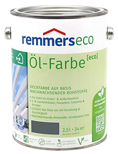 Remmers Öl-Farbe Eco Holzfarbe für Innen und Außen (2,5L, Basaltgrau Ral 7012)