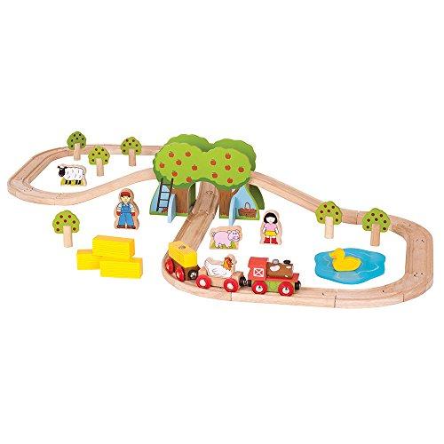 Bigjigs Rail Circuit de Train Ferme | Jeu Enfant en Bois | Compatible avec Autre Marques de Train en Bois | Jouet Enfants