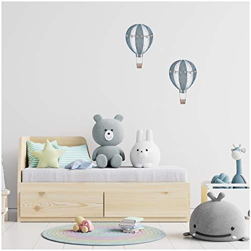 yabaduu 2er Set Heißluftballons Wandtattoo Wandsticker Aufkleber für Kinderzimmer Babyzimmer Aquarell Ballon Y032 (Blau)