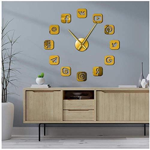 ZYZYY 47inches Social Media Symbole DIY Wandkunst Riesen Wanduhr Büro Studentenwohnheim Dekor 3D Rahmenlose Icons Wanduhr Geschenke für Jugendliche