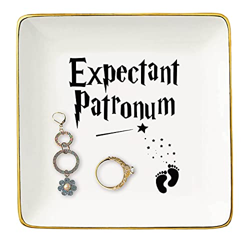 Topthink Expectant Patronum - Mom to Be Gift - Have a Baby Gift - Funny Mom Pregnancy Announcement Gift - Baby Reveal Gift for New Mom Mother - Ceramic Jewelry Holder Ring Dish Trinket Tray