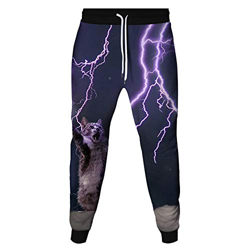 Surwin Casuales 3D Gato Pantalones para Hombre, Pantalones Deportivos para Hombre, Pantalones Deportivos para Correr, Mujer Pants de Jogging Pantalones de Fitness (relámpago,XL)