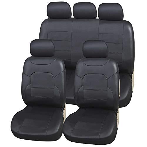 Upgrade4cars Sitzbezüge Auto Leder-Optik Universal Schwarz | Auto-Sitzbezüge Set für Sommer & Winter | Kunstleder Auto-Sitzschoner für die Vordersitze & Rückbank (B3 Schwarz)
