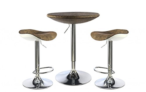 Ripley Bar Table With Stools Chrome with Brown Textilene Top, Table 600W Round x 740H Chrome with Textilene Top, Bar Stool 350W Round x 500H ABS with Textilene Seat, Dining Room Furniture